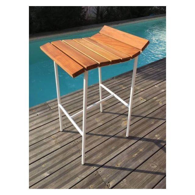 Mathi Design Lounge - Tabouret de bar en bois et acier blanc