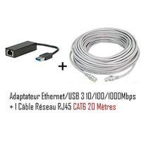 Cabling - adaptateur Usb mâle vers connecteur Rj45 v3 Gigabit + Cable ethernet Rj45 Cat6 20 mètres