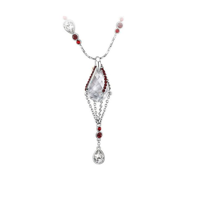 d807241bc0cc0 Blue Pearls - Collier Cristal de Swarovski Elements Blanc et Rouge et Plaqué  Rhodium - Cry