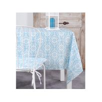 Stof - Nappe polyester rosace carreau de ciment bleu/blanc 140x250cm Lisboa