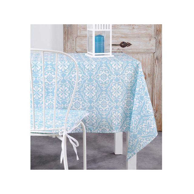 stof nappe polyester bleu et blanc motif carreau de. Black Bedroom Furniture Sets. Home Design Ideas