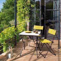 Lafuma - Chaise de jardin pliante en acier et toile Batyline lot de 2, Anytime - Vert Papageno