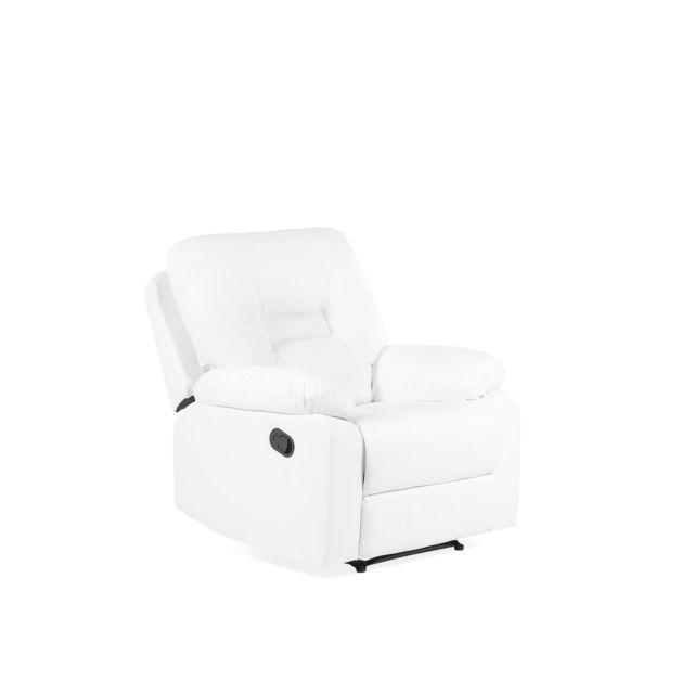 BELIANI Fauteuil en simili cuir blanc avec position réglable BERGEN - blanc