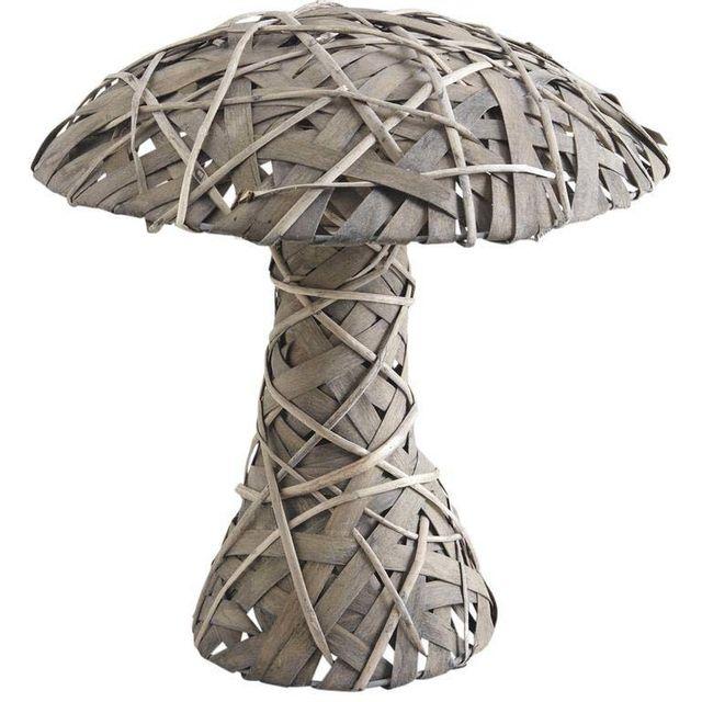 AUBRY GASPARD Champignon en osier gris et bois