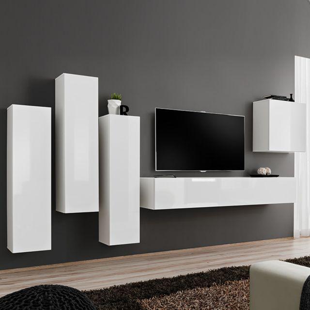 Nouvomeuble Composition Tv murale blanc laqué Forenza 3