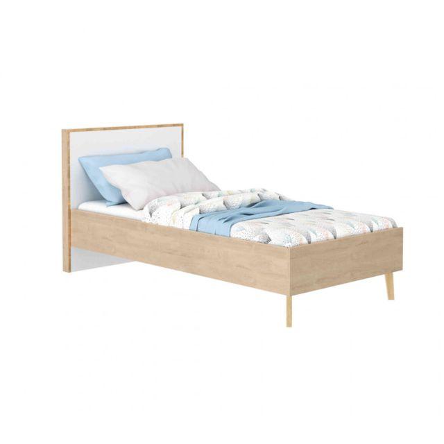 TERRE DE NUIT Lit en bois imitation chêne clair 90x190 - LT5046-1