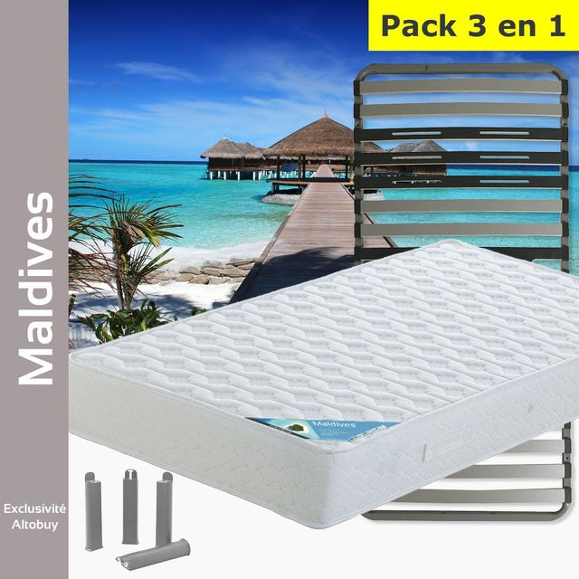 altobuy maldives pack matelas altozone 90x190 pieds blanc 90cm x 190cm pas cher. Black Bedroom Furniture Sets. Home Design Ideas
