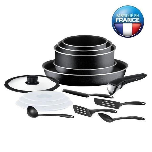 TEFAL - Ingenio Essential Batterie de cuisine 15 pieces L2009502 16-18-20-26cm noir Tous feux sauf induction