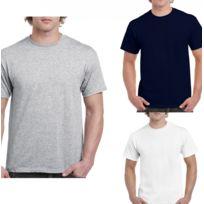 Gildan - Lot 3 t-shirts 5XL Homme - taille américaine - Blanc - gris - navy