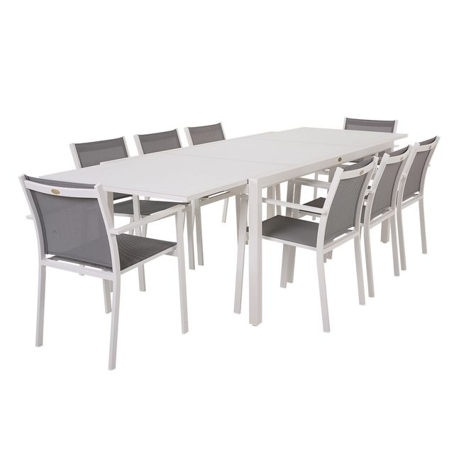 Rotin-design - Table et chaises de jardin Cologne blanc en résine ...