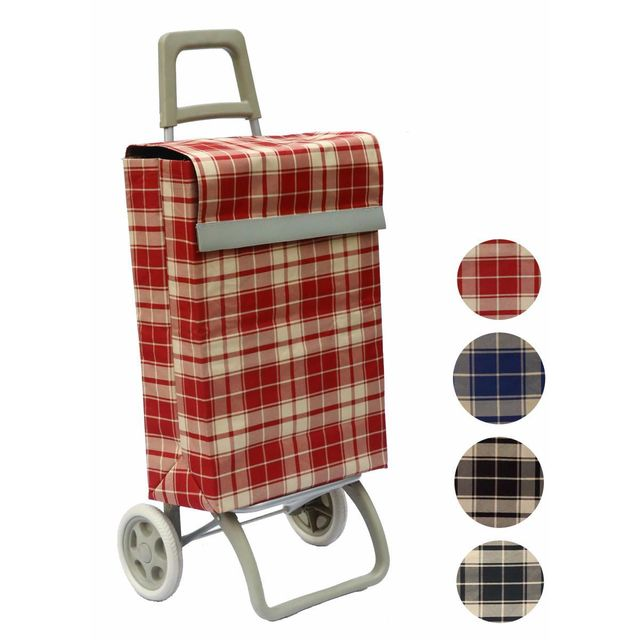 BO TIME - Chariot de courses deux roues - Capacité 40L - motif : Rayures rouges