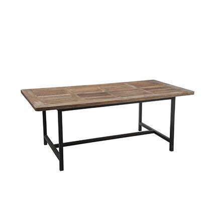 Table à manger en métal et bois naturel 200x100x78cm