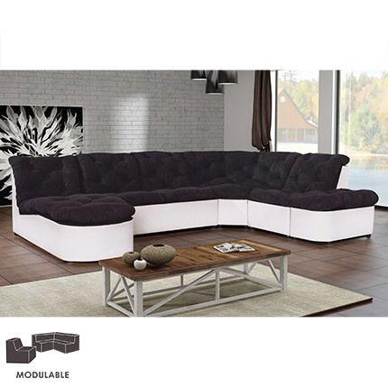 Canapé modulable 310cm en Pu et microfibre noir