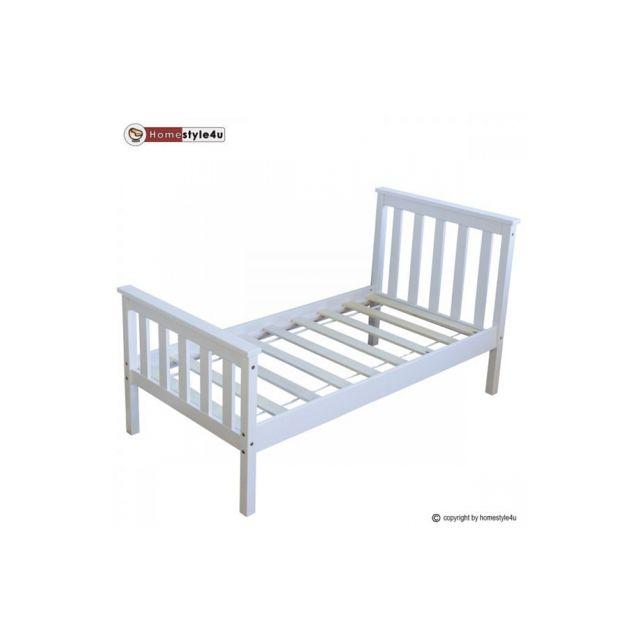 Homestyle4U Lit Simple Blanc 70x140cm avec pied de lit