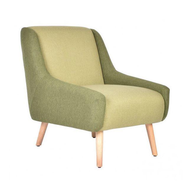 Mathi Design Floride - Fauteuil rétro en velours bicolore vert