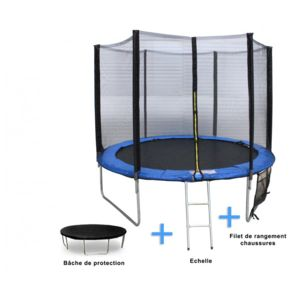 Rocambolesk magnifique trampoline jump 370cm filet de protection b che de protection - Filet de rangement suspendu ...