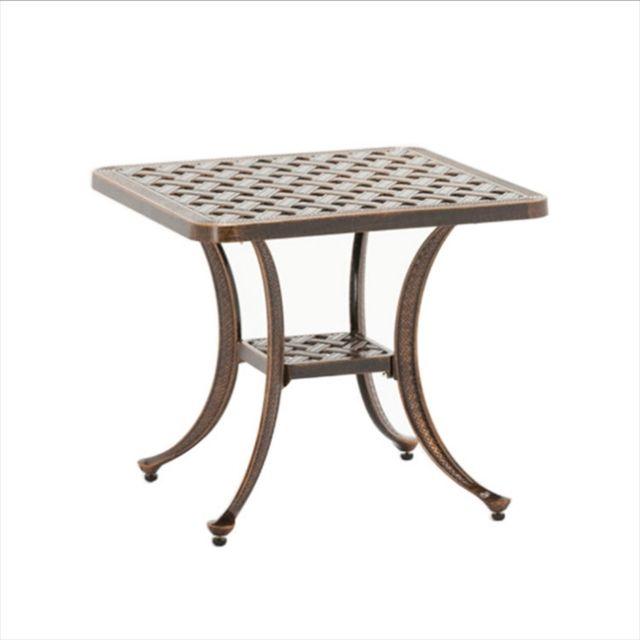Wewoo Petite table ronde d'extérieur en fonte d'aluminium décontractée européenne simple et bronze