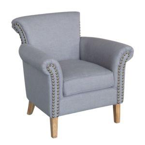 mathilde et pauline fauteuil tissu accoudoirs clo t s et dossier capitonn andrew pas cher. Black Bedroom Furniture Sets. Home Design Ideas