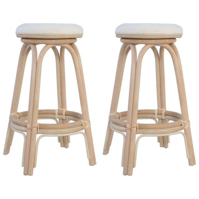 Admirable Fauteuils et chaises ensemble Tokyo Tabourets de bar 2 pcs Rotin naturel