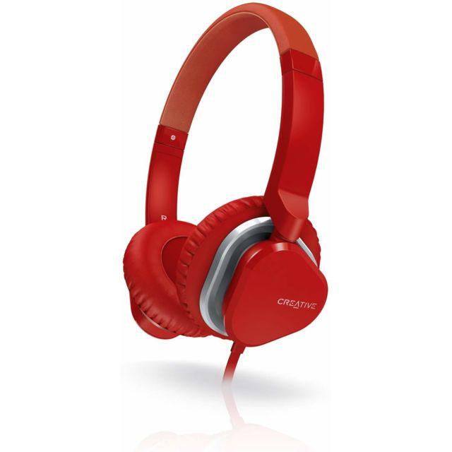 Creative Hitz Ma 2400 - Casque Audio léger avec microphone/télécommande - Rouge