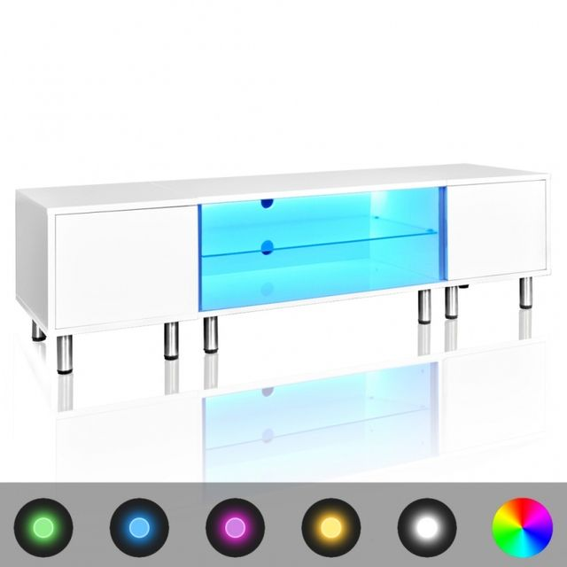 Casasmart Meuble Tv rectangulaire blanc sur pieds avec luminaires 160 cm