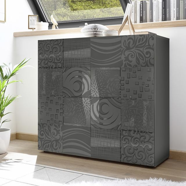 Kasalinea Buffet haut gris laqué design Nerina 2