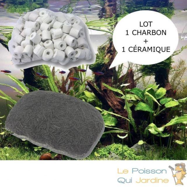 Aqua Occaz Lot de 1 charbon actif et 1 anneau en céramique pour filtration aquarium et bassin de jardin