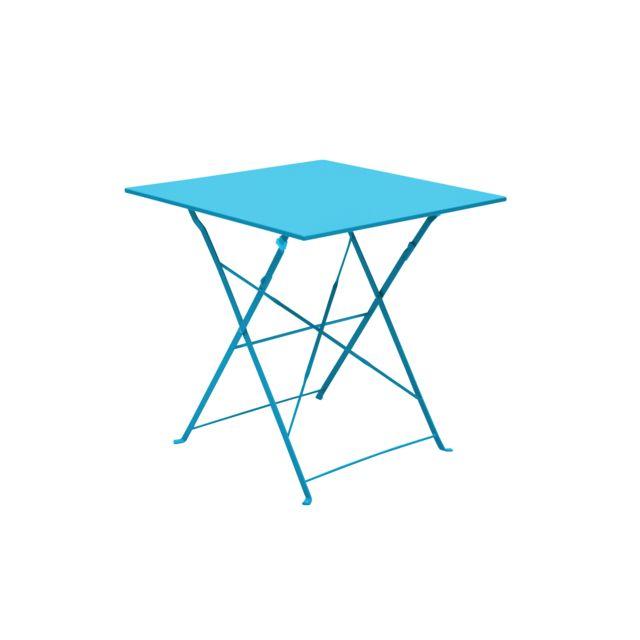 carrefour table bistrot carr e pliante bleu pas cher achat vente tables de jardin. Black Bedroom Furniture Sets. Home Design Ideas