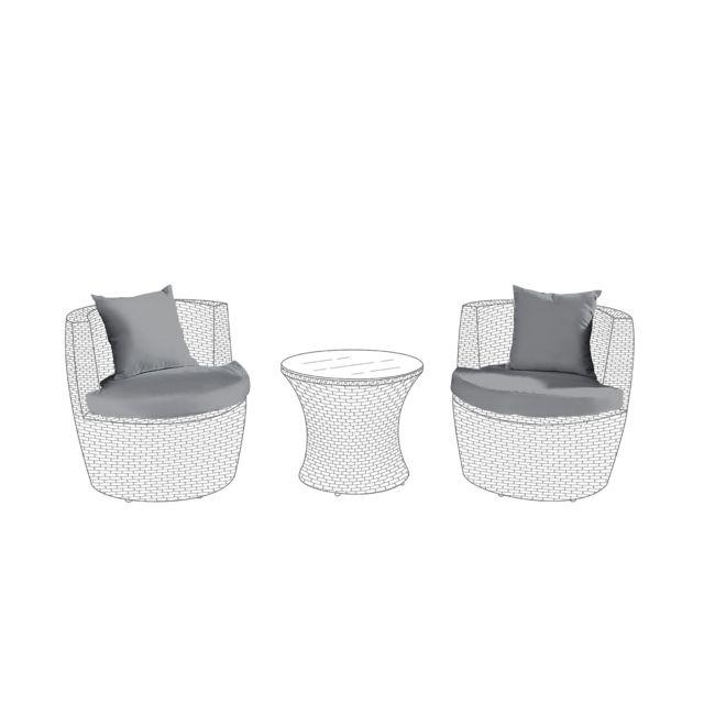 BELIANI - Set de housses en tissu gris pour salon de jardin CAPRI ...