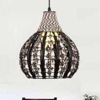 Lampe suspendue Luminaire Salon Rotin Suspension Lumière Chambre À Manger  Étude Personnalité Rétro Suspendre Brun Foncé