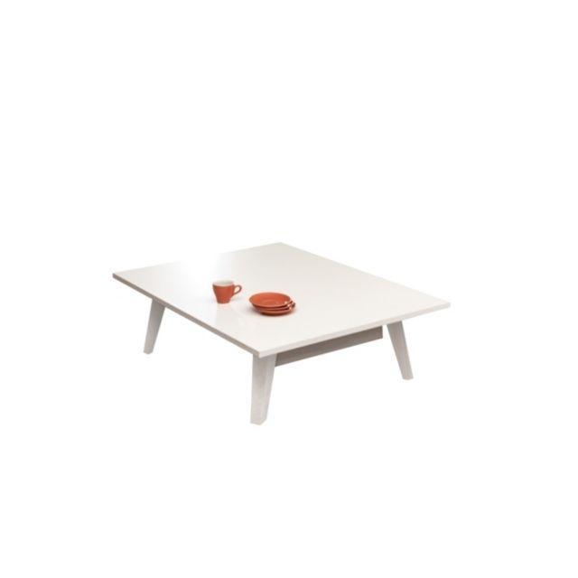 Camif Table basse Malko Blanc/Blanc laqué