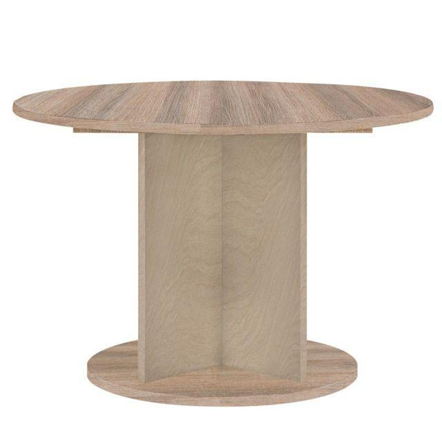 Tousmesmeubles Table de repas ronde Noisette gris - Lukkys - L 113 x l 113 x H 74