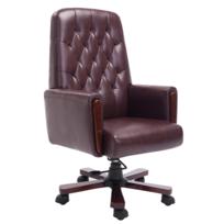 Rocambolesk - Superbe Fauteuil de bureau chesterfield marron en cuir artificiel neuf