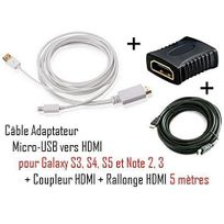Cabling - Cable Adaptateur micro usb vers hdmi Mhl pour telephone samsung galaxy S4 - Samsung Infuse 4G - galaxy Nexus - Premium qualité - Blanc + coupleur Hdmi + cable Hdmi 5M
