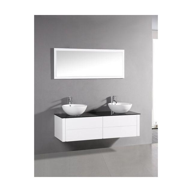 Rocambolesk Magnifique meuble de salle de bain complet polka blanc : ensemble salle de bain meuble + 2 vasques + 1 miroir