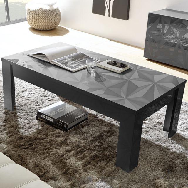 Sofamobili Table basse de salon 120 cm grise laqué design Antonio 3
