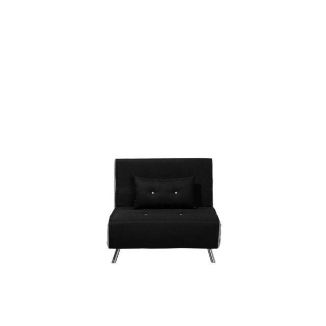 BELIANI Canapé-lit en tissu noir FARRIS - rouge