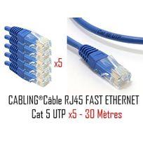 Cabling - 5 Pièces, 30m mètres, Cat.5 - Cat5 Premium Quality Câble Ethernet Cat5 - Câble Réseau - câble raccordement rj45 ethernet réseau - Câble Réseau Fast Ethernet - Cable Ethernet bleu RJ45, Cat 5, Utp , convient aux réseaux de 10/100