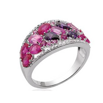 Collection Zanzybar - Bague argent et pierres roses, mauves, fuchsia Collection Madras Taille - 52