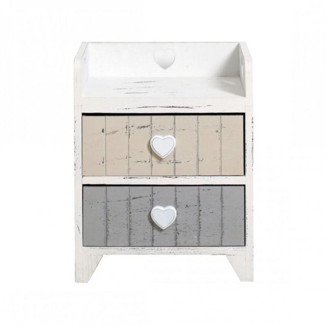 mobili rebecca table de nuit chevet 2 tiroirs love blanc beige gris cur romantique chambre color pas cher achat vente chevet rueducommerce