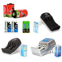 Uniross - Pack chargeurs universels Aa-aaa-lr14-LR20-LR22 + 22 accus et convertisseurs Aa & Aaa - 1,2 V rechargeables