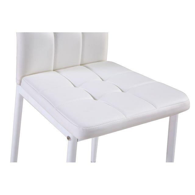 Bestmobilier - Nina Blanc - Lot de 6 chaises - Simili Blanc
