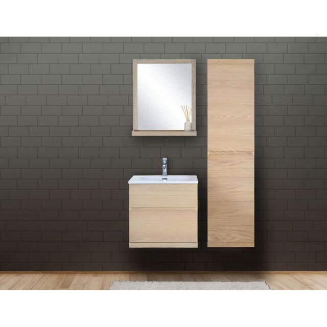 Ensemble Salle De Bain Bois 60 Cm Meuble + Vasque + Miroir + Colonne Enio