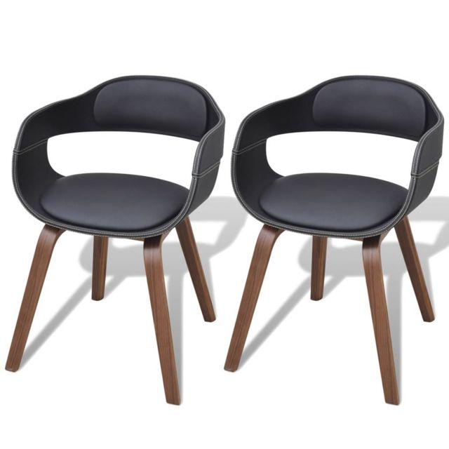 Chaise de salle à manger 2 pcs Cadre en bois Cuir synthétique | Noir