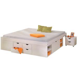 declikdeco lit en bois avec espaces de rangement mobiles blanc 160x200 pas cher achat. Black Bedroom Furniture Sets. Home Design Ideas
