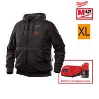 Milwaukee - Sweat chauffant noir M12 Hh Bl2-0 Taille Xl 4933451614 - Batterie M12 2.0Ah et chargeur C12C 4933451900