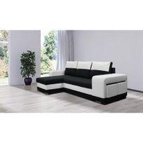 Chloe Design - Canapé d'angle convertible Lilou - noir et blanc - Angle gauche