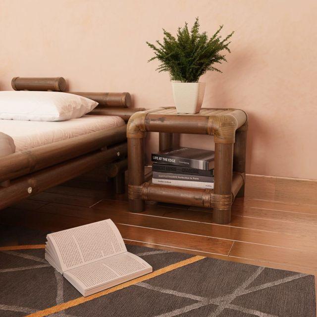 Esthetique Tables collection Dacca Table de chevet 40 x 40 x 40 cm Bambou Marron foncé