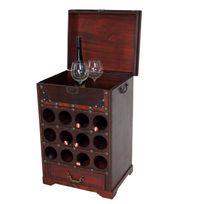 Mendler - Etagère à vin Calvados pour 12 bouteilles / mobilier de bois / style colonial ~ 69x47x38cm