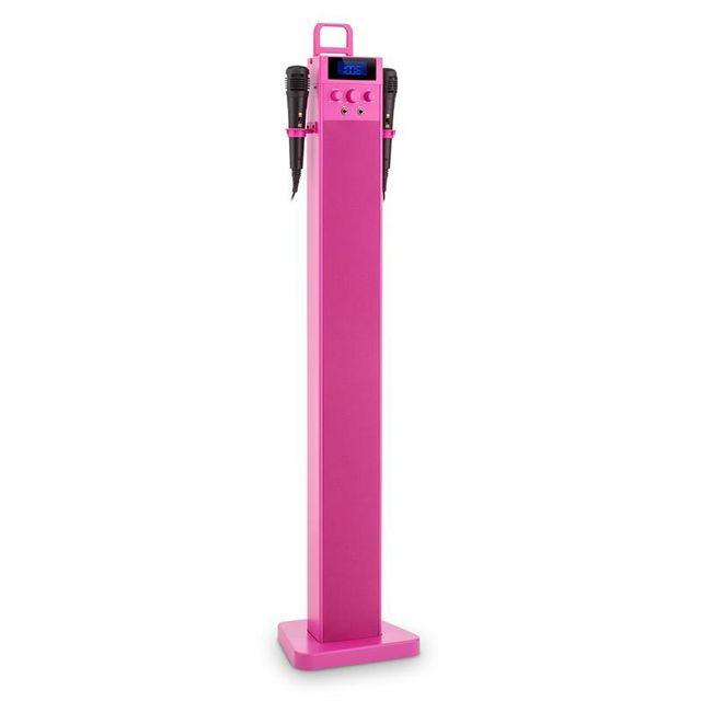 AUNA HiTower Enceinte colonne Karaoké Bluetooth FM AUX USB 2 micros -rose
